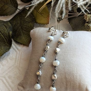 Artisan Crafted Sterling Silver Nugget Cultured Pearl Drop Post Earrings