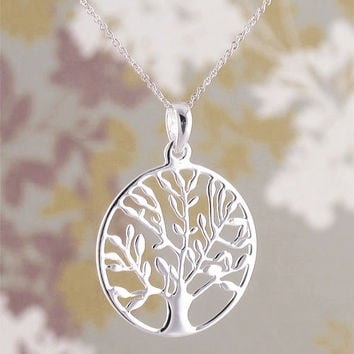 Tree of Life Medallion Necklace in Sterling Silver