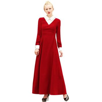 British OL Style Women's Full Length Night Long Dress Vintage Turn -down Collar Cocktail Party Dress Maxi Down Dresses 6458