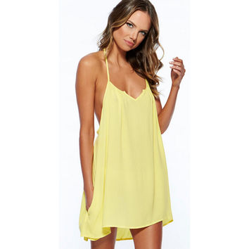 Sexy women Summer Casual Cotton Sleeveless Evening Party Beach Dress Short Mini Dress Yellow