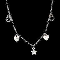 GUCCI 925 Silvery Fashionable Women Chic Double G Heart Star Pendant Necklace Accessories Jewelry