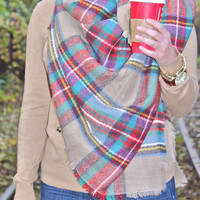 Plaid Blanket Scarf, Plaid Scarves, Oversized Multi Color Scarf, Knit Scarves