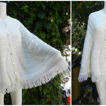 Vintage White Crochet Poncho, Long Fringe Poncho Sweater, Ladies Fashion Accessories Size S/M