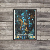 LOTR Poster | Lord of the Rings poster | Lothlorien | Vintage look print | Vintage travel