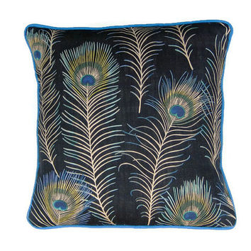 "Cushion, throw pillow, home decor, 18 x 18 ins., Sanderson ""Themis "" peacock feathers design green, turqoise blue, black, linen mix fabric."