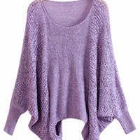 Long Sleeves Loop Neck Asymmetric Knitted Sweater