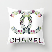 Floral fashion brand logo  Throw Pillow by Koma Art