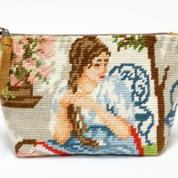 Vintage needlepoint zippered pouch