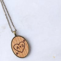 Your initials real wood pendant, brass necklace, personalized jewelry, name necklace, wood necklace, heart in a tree