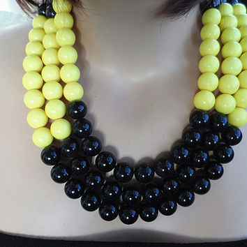 Thr- Layers Necklace, Beaded Necklace,Bubble Necklace, Statement Necklace,Black Yellow Necklace,Bubble Necklace,Wedding Party Bridesmaid