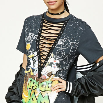 Black Looney Tunes Lace Up Top