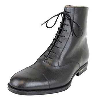 Gucci Men's Black Leather Side Zip Lace-up Ankle Boots 322481 1000
