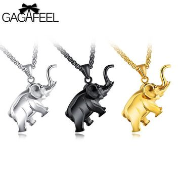 GAGAFEEL Elephant Animal Unique Pattern Necklace For Men Jewelry Hip Hop Stainless Steel Male Chain Pendant Gift Dropshipping