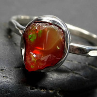 uncut fire opal ring silver, uncut engagement ring opal, raw fire opal ring, organic stone ring, unique gift for her, raw opal ring flame