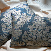 Pair of Fortuny Dandolo in Midnight Blue & Silvery Gold Throw Pillow Cushion Covers Made to Order- All Handmade in Italy