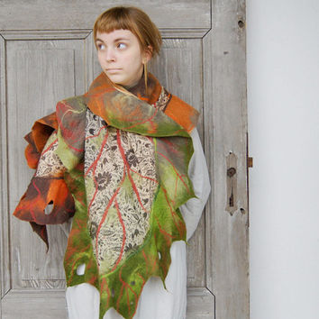Nuno felted ruffle scarf like leaf, long silk shawl in brown, green and orange. OOAK