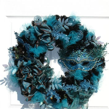 Mardi Gras Wreath / Aqua Blue and Silver Wreath / Mask Wreath / Holiday Wreath / by English Rose Designs Oh