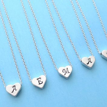 Set of 5-10, Personalized, Letter, Initial, Italic font, Silver, Heart, Necklace, Sets, Wedding, Bridesmaid, Bridal, Gift, Jewelry
