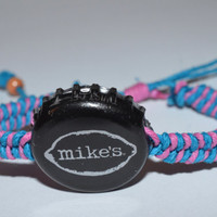 Mike's Hard Lemonade Beer Bottle Cap Pink and Turquoise Hemp Bracelet Handmade