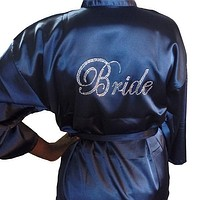 Bride Robe with Rhinestones, M, XL, 2XL, 3XL