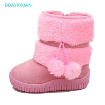 Winter Children Boots Thick Warm Shoes Boys Cotton-Padded Suede Zip Mid-Calf Snow Boots Girl Candy Color Boots Kids Winter Shoes