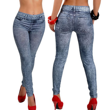 Womens Denim Snowflake Skinny Stretch Pants