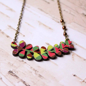 Necklace in Brown, Green and Pink with Geometric Patterns and Plant - Succulents - Woody Collection