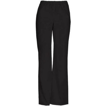 ScrubStar Women's Basic Pull On Scrub Pants, Large Petite, Black, 90009P