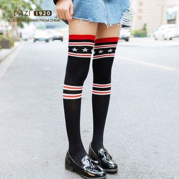 DCCKWA2 2018 New Fashion Japanese High Stockings Women Over Knee Socks Black Stripe Star