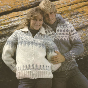 White Buffalo Pattern #6714.  Cowichan Salish style sweater, Wool cardigan, Adult, Native Canadian, hippy, West coast, stranded his and hers