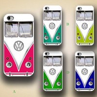 iphone case, i phone 4 4s 5 case,cool cute iphone4 iphone4s 5 case,stylish plastic rubber cases cover,colorful VW bus funny case p1051