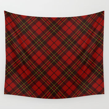 Adorable Red Christmas tartan Wall Tapestry by PLdesign | Society6