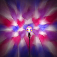 Hand-Painted Pink&Purple Heart Mood-Light Bulb 4 Burning Man )*( Playa, Night Lights, Parties, Dorm Lighting, Kid's Lamps, Color Therapy!