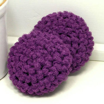 Purple Dish Scrubbies, Crochet Scrubbies, Eco Kitchen, Dish Scrubber, Hand Crochet Set of 2, Crochet Dish Scrubbies, Gifts Under 10