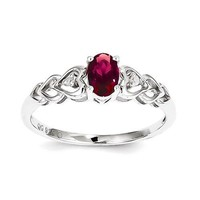 Sterling Silver Oval Created Ruby & Diamond Hearts Ring