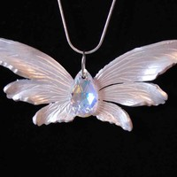 Pearl White Fantasy Fairy Wing Pendant with Swarovski Crystal