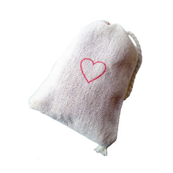 Red Heart Sachets with Lavender - 3 Pack for Laundry or Drawer - wedding favors