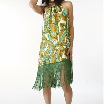 Silk Dress with Fringe, M