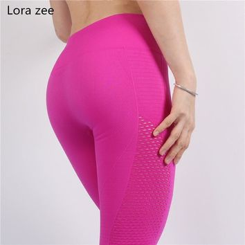LORA ZEE seamless high waist pink sport leggings for women full length sexy side cutout yoga pants hollow out gym fitness tights