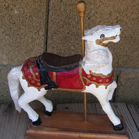 Carousel Horse Folk Art Wood Carving Hand Carved Wood Circus Carnival Sculpture Signed by J.M Ragona Leisure World