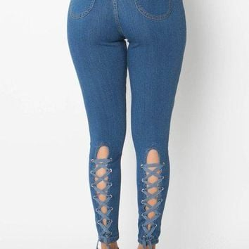 Denim lace up back high waist skinny jeans