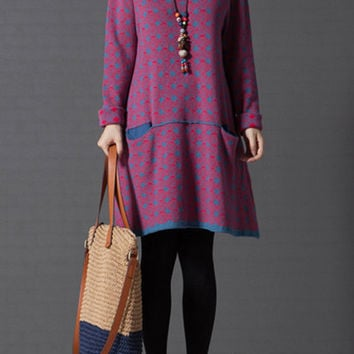 Sweater dress, knit dress, fuchsia dress, print dress, knitted sweater, long sweater, loose dress, long sleeve dress, cotton sweater (ESR90)