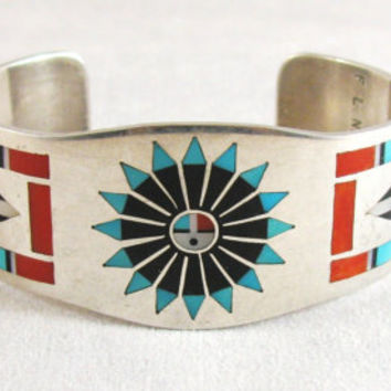 SALE 15% OFF Zuni Sunface Cuff Bracelet Sterling Silver Turquoise Jet Coral Inlay Vintage Native American Signed