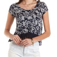 Navy Combo Crochet-Trim Cropped Swing Tee by Charlotte Russe
