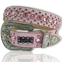Crystal Studded BABY PINK Tooled Rhinestone Belt LPurchase