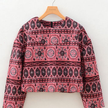 Printed Long Sleeve Cropped Sweater