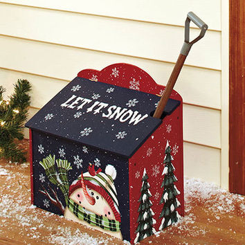 Let It Snow Sidewalk Salt Box With Shovel Scoop Holiday Christmas Snowman Theme