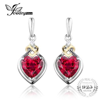 JewelryPalace Love Knot Heart 3.4ct Created Ruby Drop Earrings For Women 18K Yellow Gold 925 Sterling Silver Brand Fine Jewelry