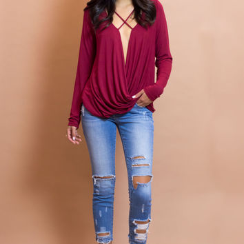 Valentina Front Cross Strap Knit Top - Burgundy