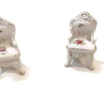 Lot Set of 2 Vintage Porcelain miniature CHAIRS Chair Doll House Furniture Japan